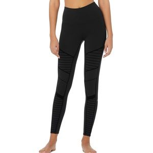 Alo Flocked High-Waist Moto Black Legging